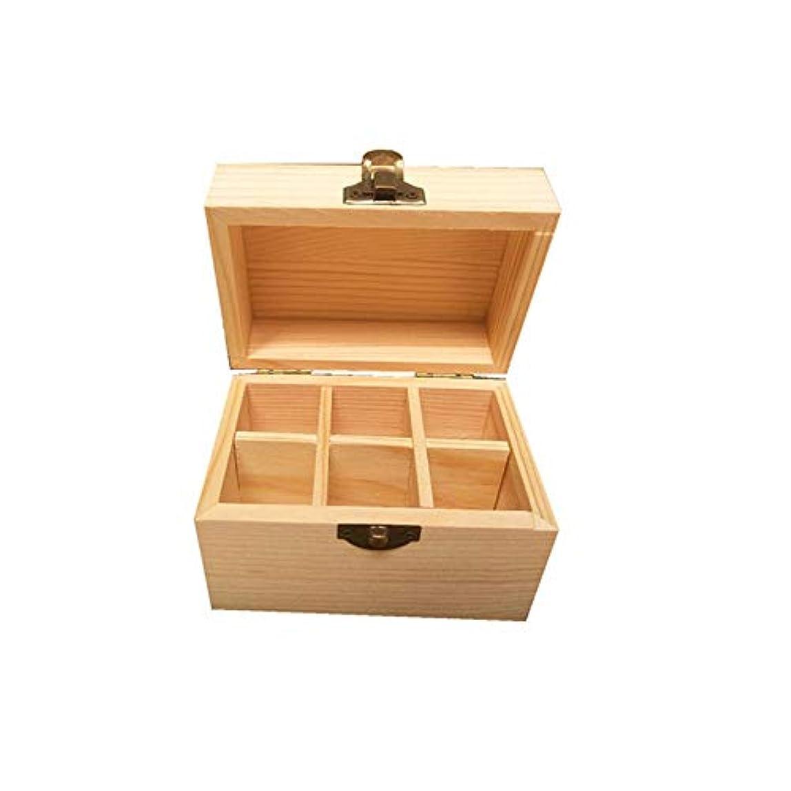 ダースブースト古いエッセンシャルオイルの保管 6つのボトル木製エッセンシャルオイルストレージボックスパーフェクトエッセンシャルオイルケース (色 : Natural, サイズ : 12X8X8.5CM)