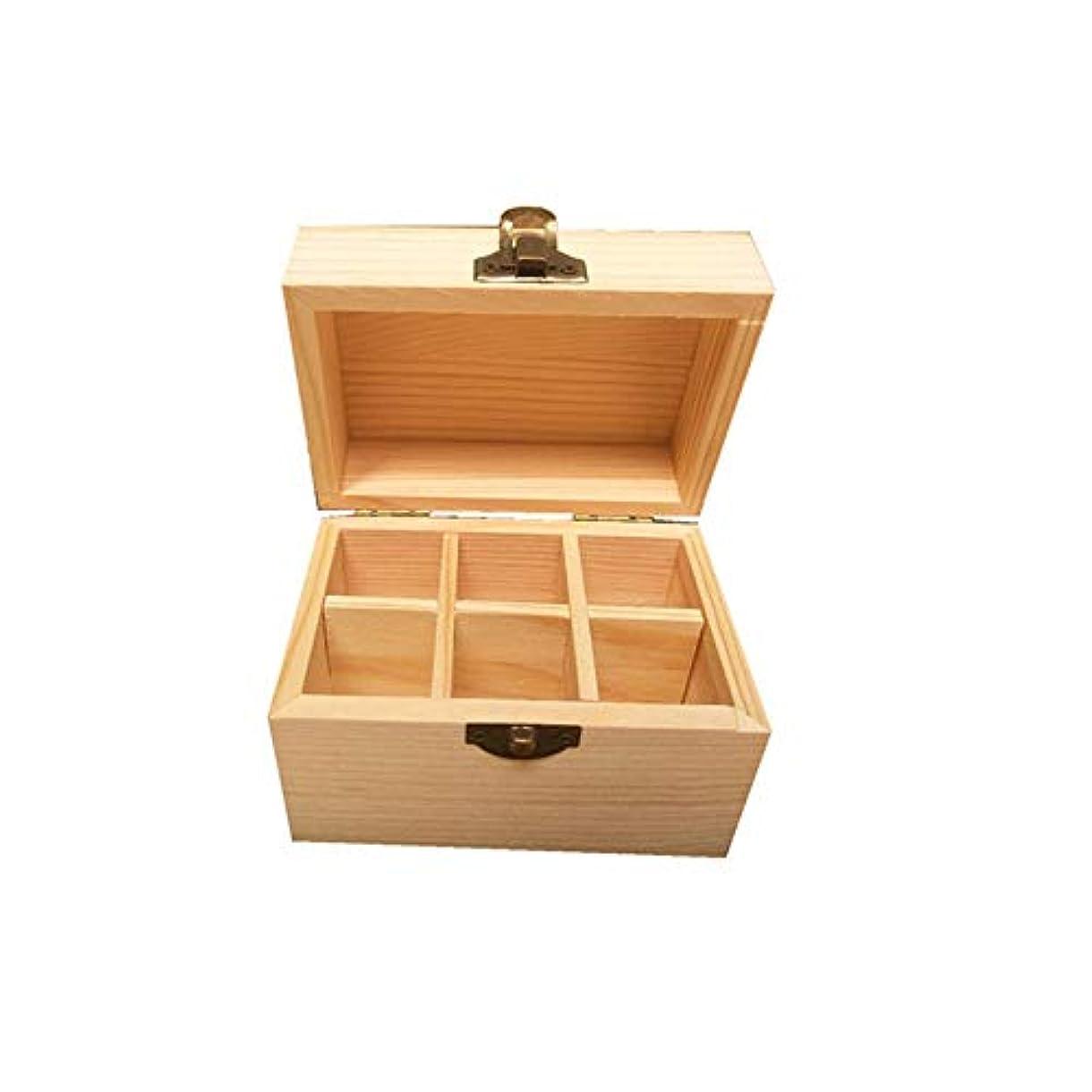 平手打ちドール極小6つのボトル木製エッセンシャルオイルストレージボックスパーフェクトエッセンシャルオイルケース アロマセラピー製品 (色 : Natural, サイズ : 12X8X8.5CM)