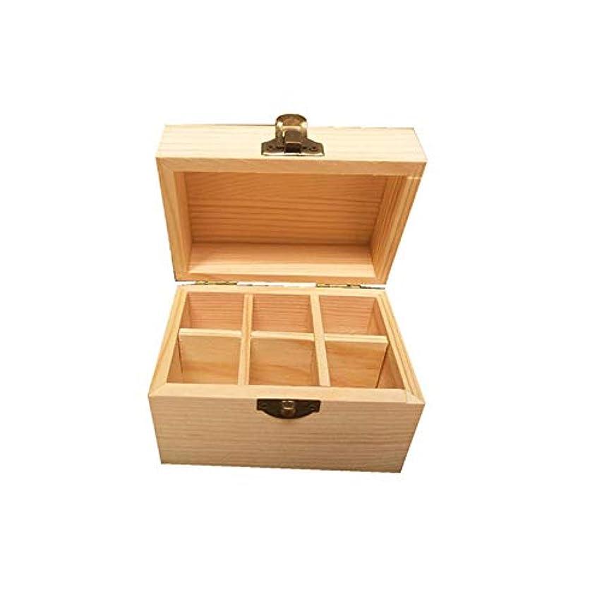 維持する魅力掻く6つのボトル木製エッセンシャルオイルストレージボックスパーフェクトエッセンシャルオイルケース アロマセラピー製品 (色 : Natural, サイズ : 12X8X8.5CM)