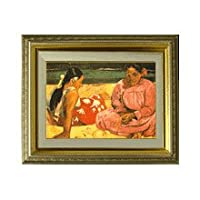 ゴーギャン タヒチの女 F4 油絵直筆仕上げ  絵画4号 477×387mm 複製画 ゴールド