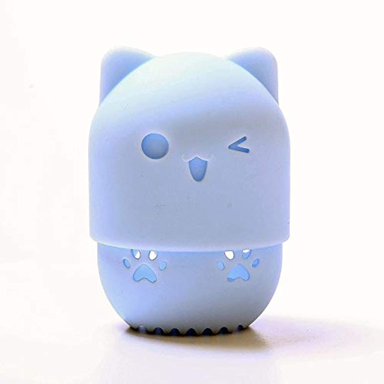 リンケージ考えるチケットスポンジパフ収納ボックス ,可愛い通気性を柔らか美容スポンジ シリコン旅行 キャリングケース、あらゆる化粧スポンジ適用 (ブルー)