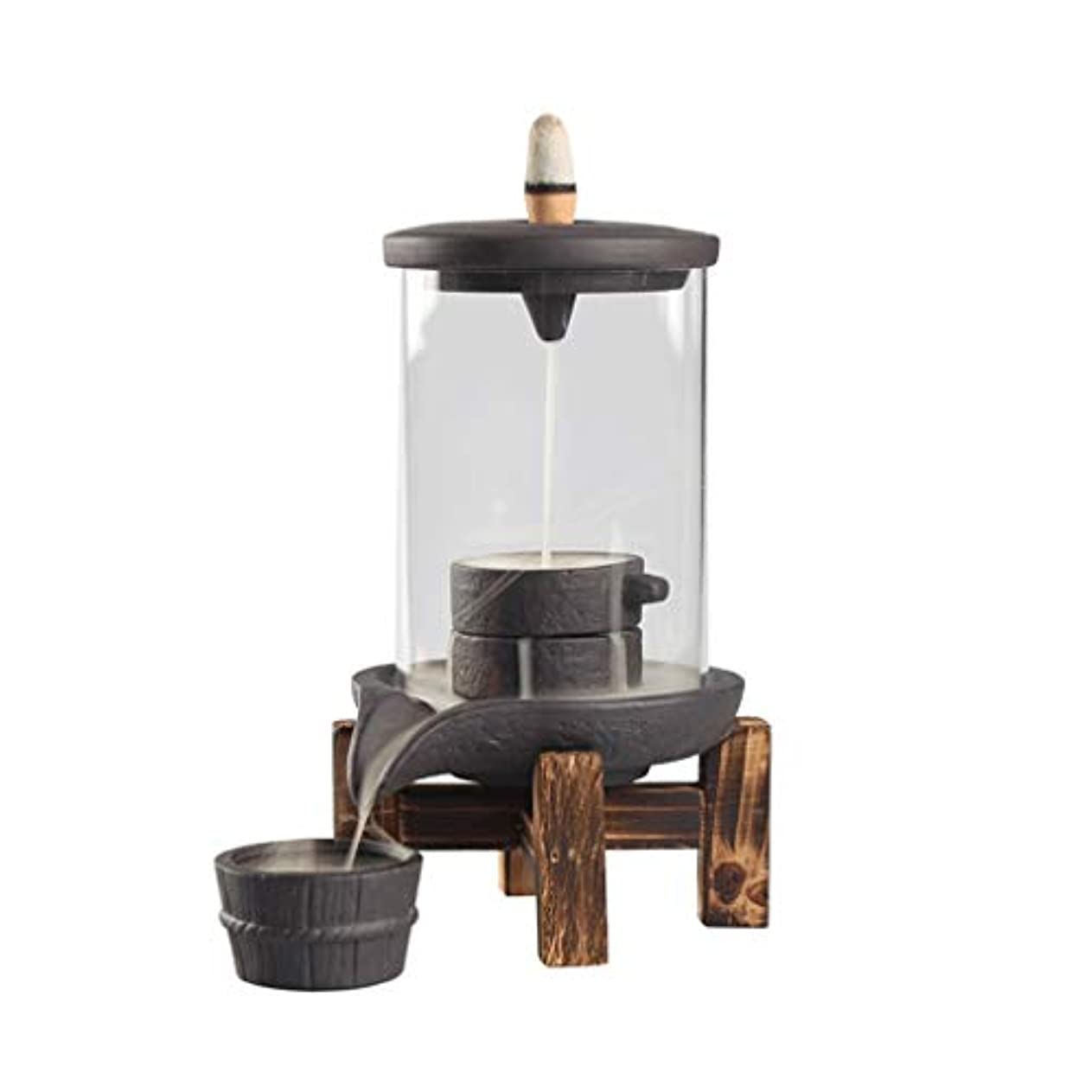 鋭くモッキンバード列挙する逆流ガラス香のホールダー縦の寒天の陶磁器の香バーナーの儀式空気浄化の香の床の香のホールダー (Color : Black, サイズ : 3.74*6.7INCHS)