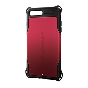 エレコム iPhone8 Plus ケース カバー 衝撃吸収 【 落下時の衝撃から本体を守る 】 ZEROSHOCK スタンダード 衝撃吸収 フィルム付 iPhone7 Plus対応 レッド PM-A17LZERORD