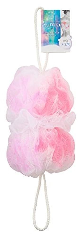 早く毎週セールマーナ ボディースポンジ 「背中も洗えるシャボンボール オーロラ」 ピンク B587P
