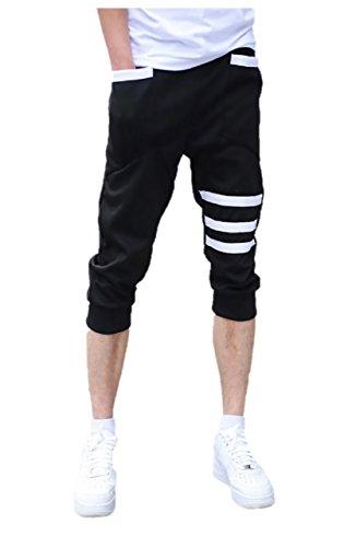 (パラッツィー)PALAZZIE メンズ ジャージパンツ ハーフパンツ 短パン スウェットパンツ スポーツウェア サマー (M, ブラック)