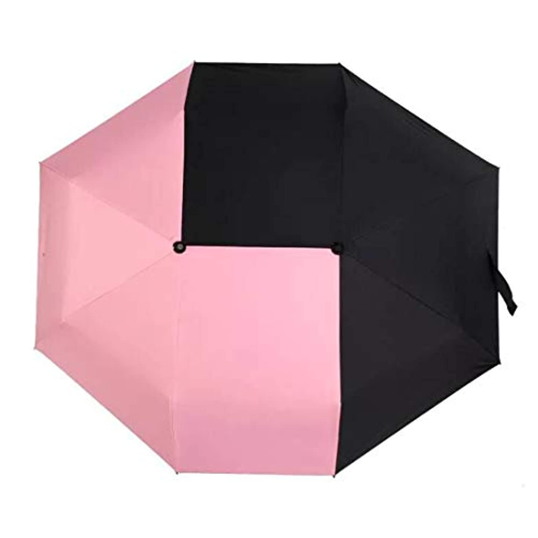 許容できるひばり派手HOHYLLYA クリエイティブスプライスダブルカラー傘女性の屋外uv保護太陽傘折りたたみ日焼け止め傘防風ポータブルゴルフ傘 sunshade (色 : ピンク)