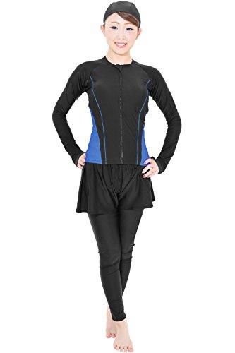 45a6bd8cd55 KN53 KIREI BEACH スイムキャップ付き フィットネス水着 4点セット レディース 水着 長袖 体型カバー 大きいサイズ  (ブラックブルー, 7S)