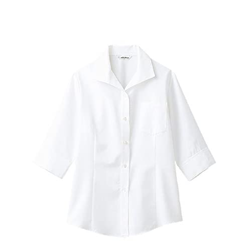 (アルベ)arbe 【ユニフォーム】ワッフル開襟7分袖ブラウスBL-6816 BL6816 C-1 ホワイト 7号