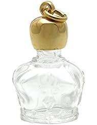 ミニ香水瓶 アロマペンダントトップ 王冠型(透明)1ml?ゴールド?穴あきキャップ、パッキン付属