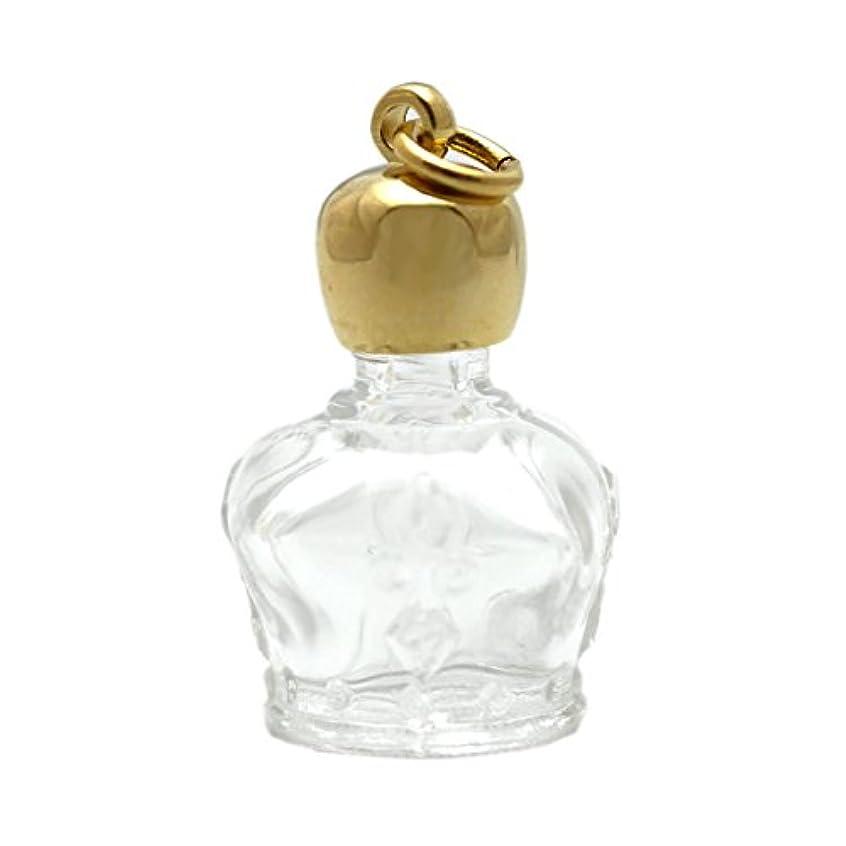 大臣カテゴリー課税ミニ香水瓶 アロマペンダントトップ 王冠型(透明)1ml?ゴールド?穴あきキャップ、パッキン付属