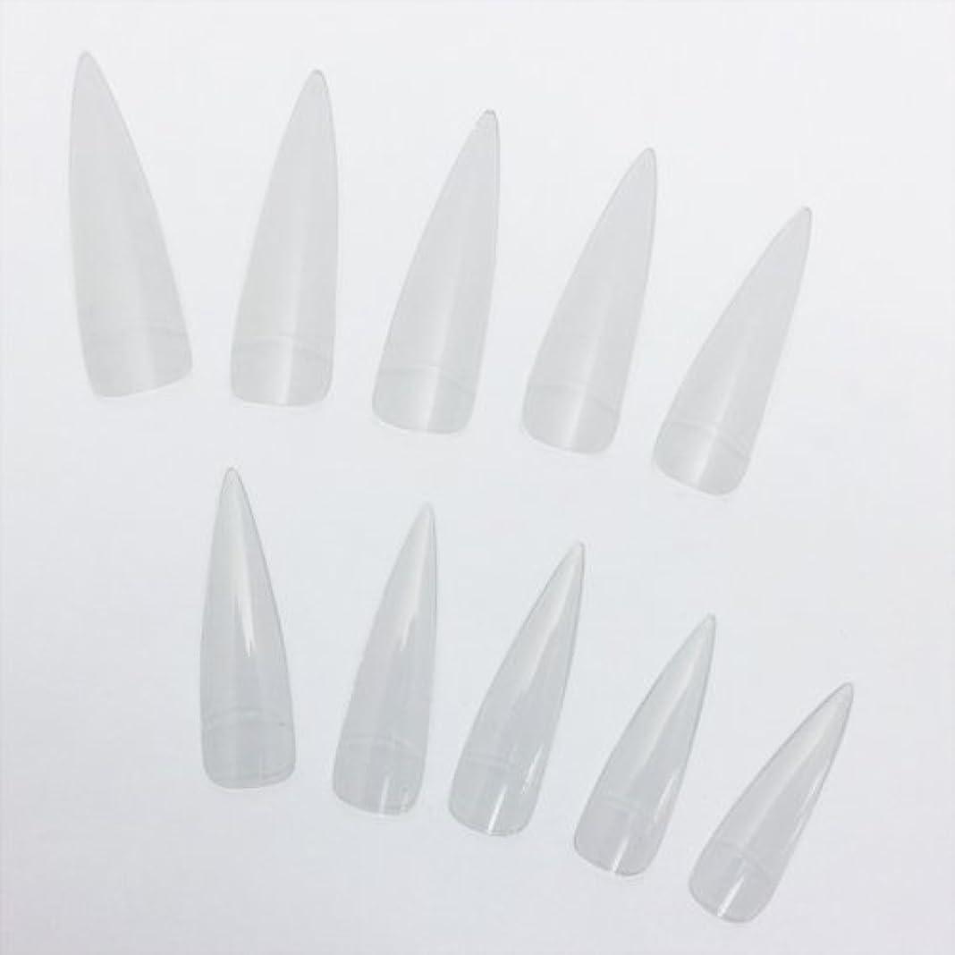 実用的歯痛ロングネイルチップ クリア 20枚セット