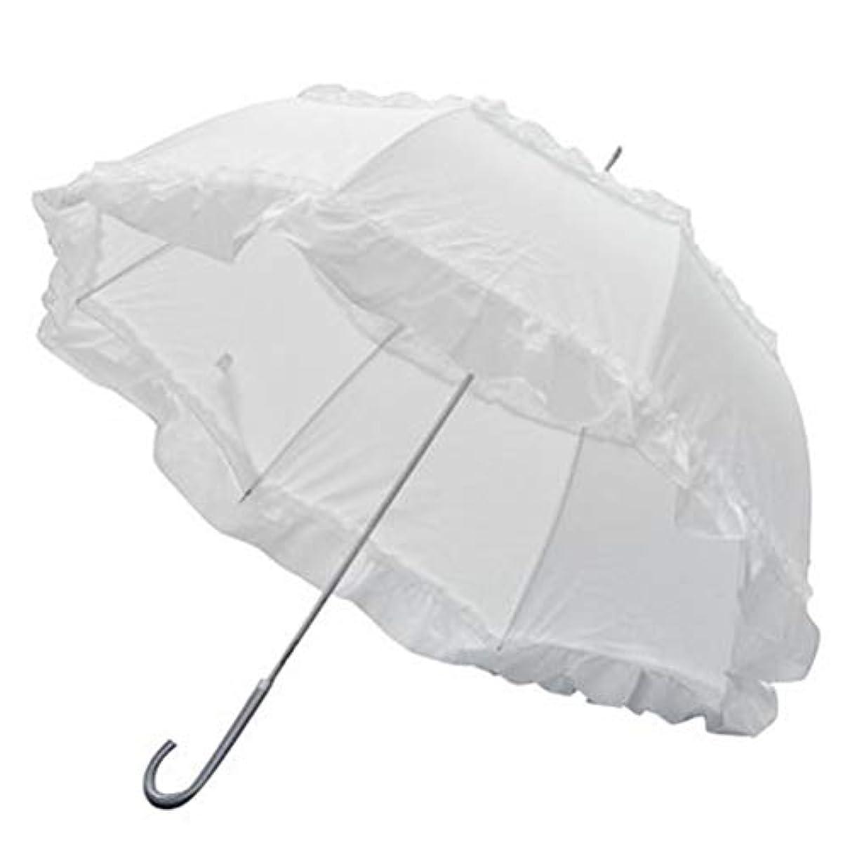 旋回局目立つ[CAIXINGYI] 晴雨兼用 日傘 UVカット 2段フリル 折傘 折りたたみ日傘 遮光 遮熱 軽量 フリル付日傘 ドーム型 手開き 傘 ブラック 60cm×8本骨 ジャンプ傘 (白)