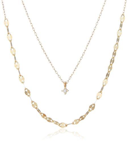 [エステール] ESTELLE ダイヤモンド K10 イエローゴールド 2連風 ネックレス 0442-8729-0013-0000