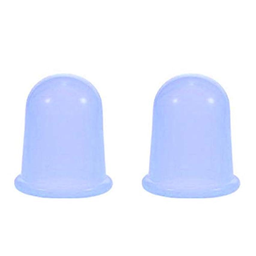 環境保護主義者マウス不当スライドカッピング シリコンカップ 2個セット ブルー ボディ 身体用 吸い玉 自宅 セルフケア 【スリムバーン】