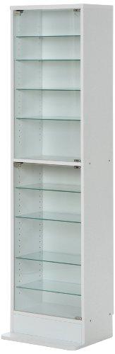 不二貿易 ガラスコレクションケース ハイタイプ 浅型 10段 ホワイト 96073