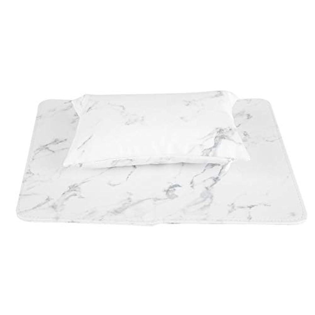 検出可能付属品まだらネイルアートリムーバブルハンドピロー折りたたみ式クッション(白)