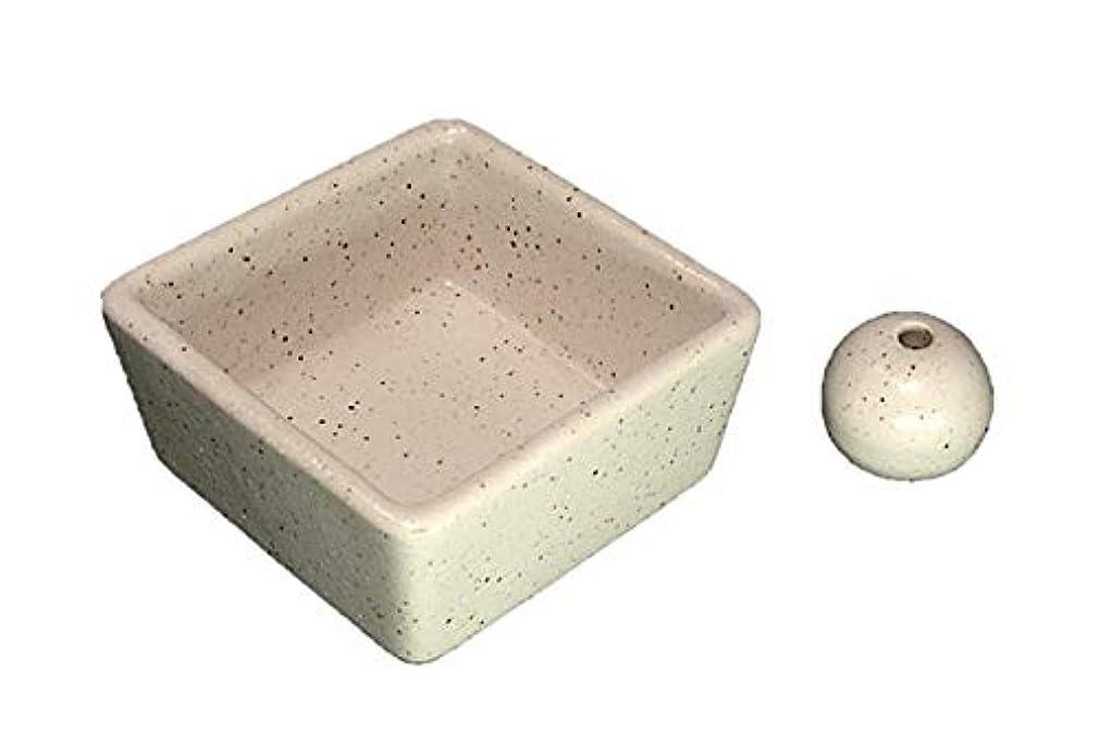 盟主味付けナラーバー和モダン 粉引 お香立て 陶器 角鉢 製造直売品