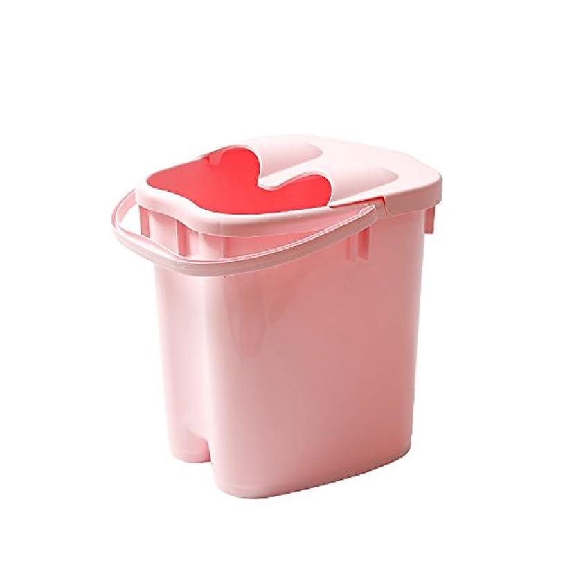 忠実にに勝る爆発するフットバスバレル厚いプラスチックマッサージフットバスは、家庭の足湯20Lの大容量高水レベルを高め22 * 30 * 40センチメートル (色 : Pink)