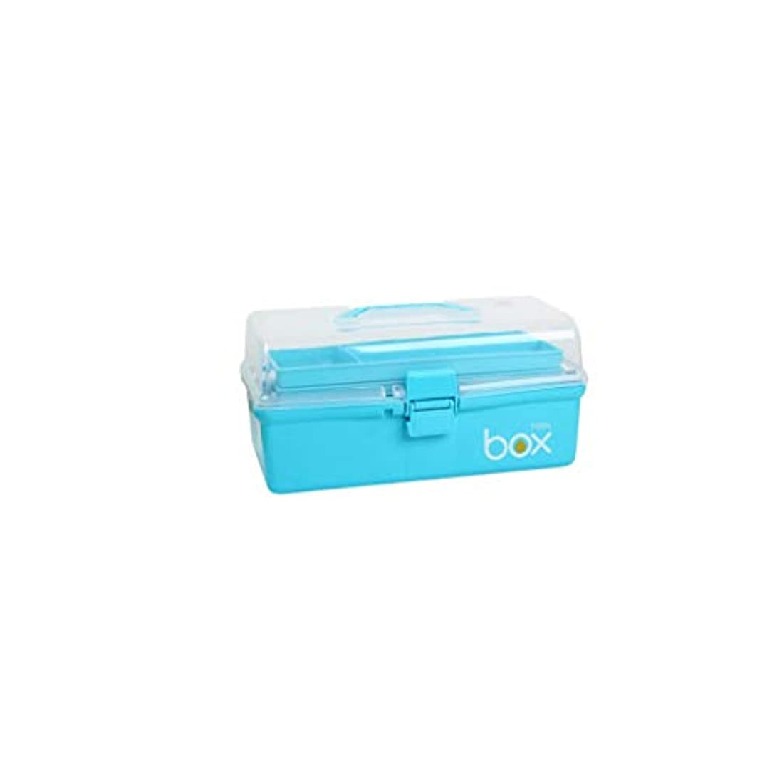 クレデンシャル詩人原子家庭用多層薬箱プラスチック薬収納ボックス救急箱ヘルスケアボックス2サイズオプション CQQO (Color : Blue, Size : 33.5×18.5×16cm)
