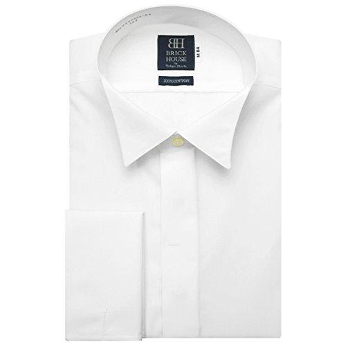 BRICK HOUSE 長袖 ワイシャツ 形態安定 ウイングカラー 綿100% ダブルカフス 白無地 要カフリンクス BXLU20030A-96 シロ LL-86