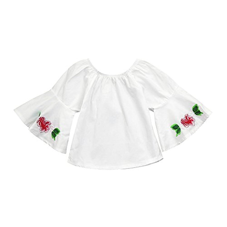 Tovadoo 子供服 女の子 トップス 花刺繍 フレアスリーブ 可愛い 誕生日 子供の日 通学 旅行 6-24ヶ月