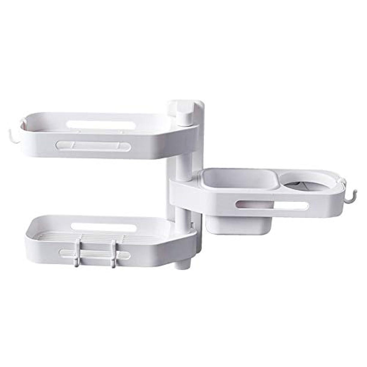 アパート恐れる欠点CoolTack 3層ソープトレイプラスチック取り外し可能な収納オーガナイザーを回転させるソープディッシュ接着剤ホルダー