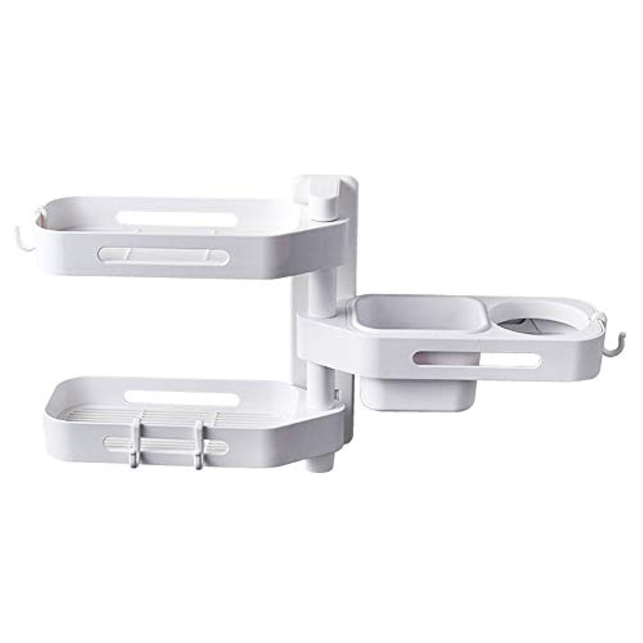巻き取り格差ほぼCoolTack 3層ソープトレイプラスチック取り外し可能な収納オーガナイザーを回転させるソープディッシュ接着剤ホルダー