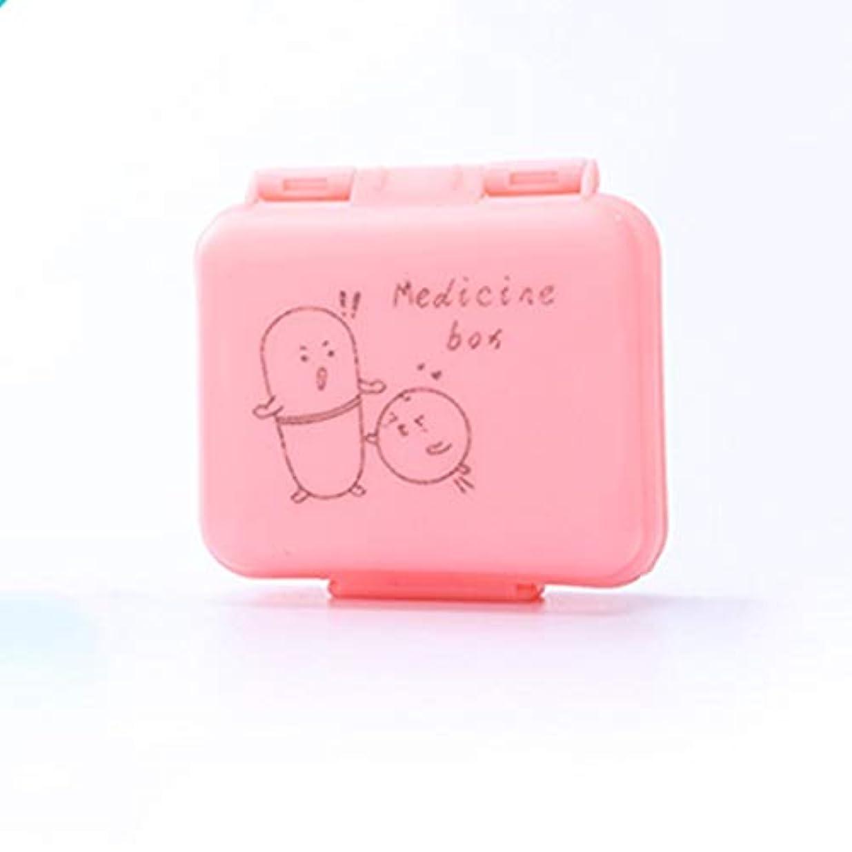 ベーコン程度動脈ポータブルトラベルピルボックス1週間ポータブルミニピル薬箱いっぱい丸薬小さな調剤箱ピルボックス LIUXIN (Color : Pink, Size : 7.2cm×7.6cm×3cm)