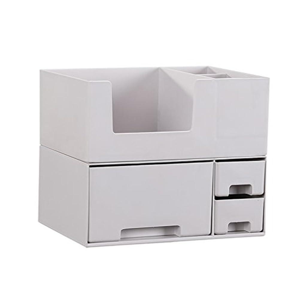 路面電車書き出す転用デスクトップ化粧品収納ボックス、スキンケア製品、フェイシャルマスク、ジュエリー、収納ラック、白い2階建て多目的収納ボックス