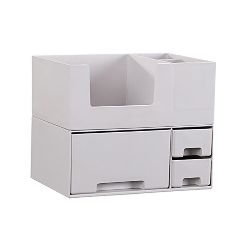 ロケット法律により外出デスクトップ化粧品収納ボックス、スキンケア製品、フェイシャルマスク、ジュエリー、収納ラック、白い2階建て多目的収納ボックス