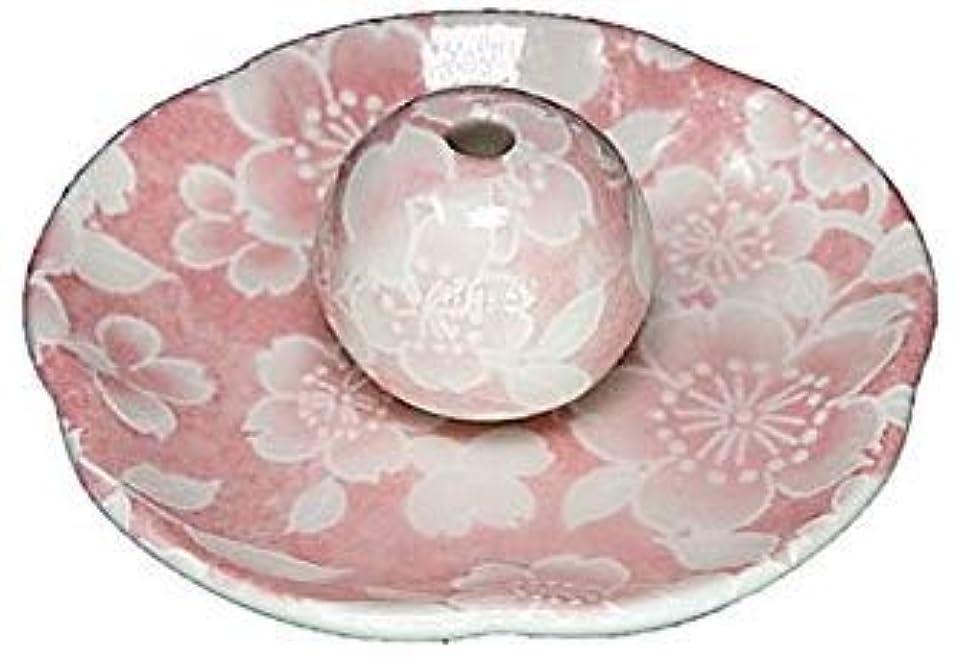 密サーバ極めて桜友禅 ピンク 花形香皿 お香立 日本製 製造 直売品