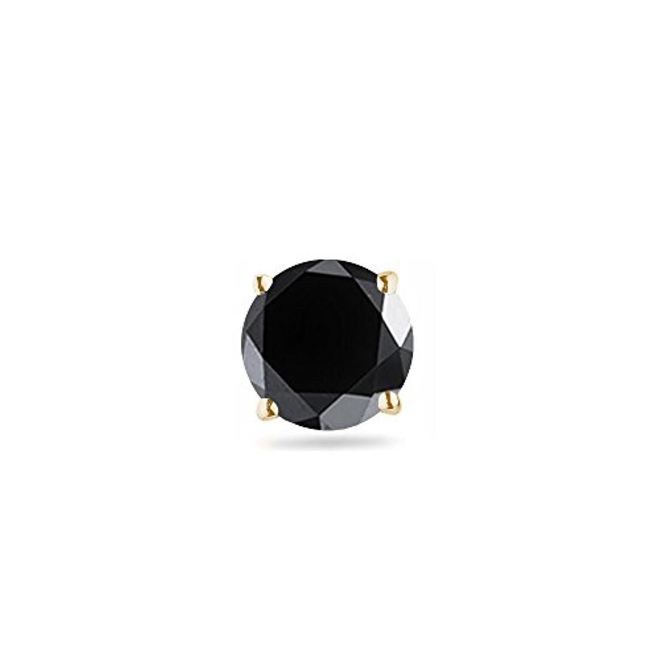 注釈工業用付属品Holiday Deal – 1 / 4 ( 0.21 – 0.27 ) CTSの3.00 – 3.50 MM AAAラウンドブラックダイヤモンドメンズシングルスタッドイヤリングで14 Ky gold-screw Backs