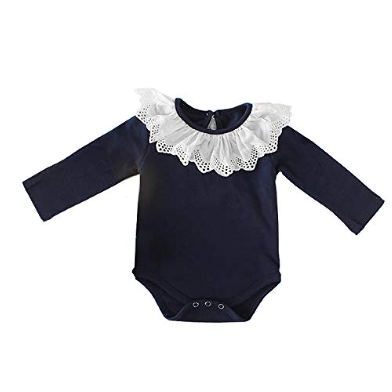 ALLAIBB ベビー服 ボディースーツ 長袖 新生児 ロンパース カバーオール 無地 女の子 かわいい size 73 (紺)