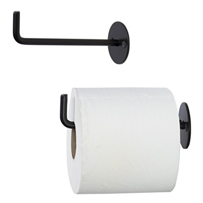 wallnitureトイレットペーパーロールホルダー壁マウント8 mm錬鉄ブラック5.5インチのセット2