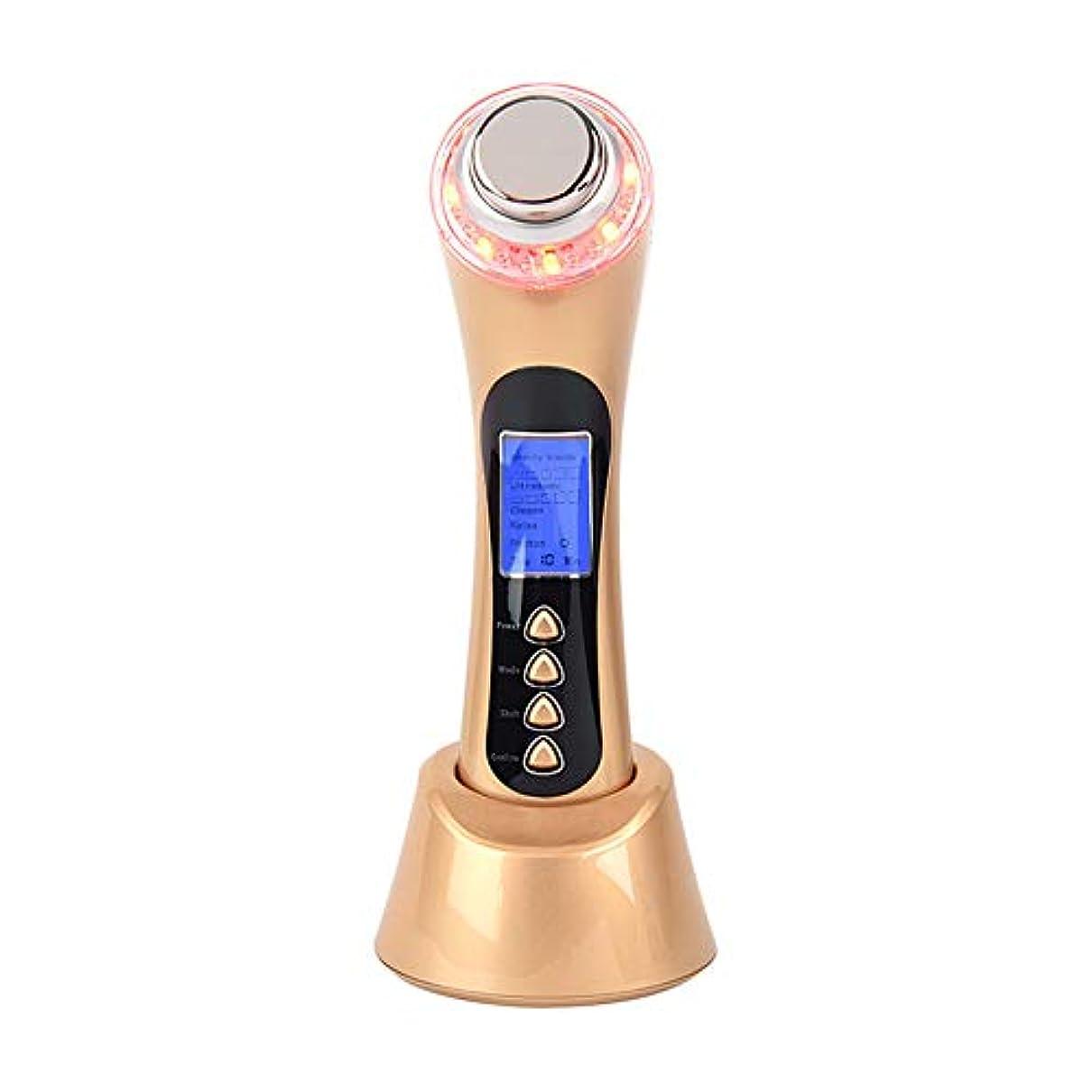 ごみ薬用恐怖症フェイシャルマッサージャー5-in-1イオンクリーナーと赤/青/緑LED光線療法装置により、にきび/にきびのインポート栄養反しわ復活USB充電式