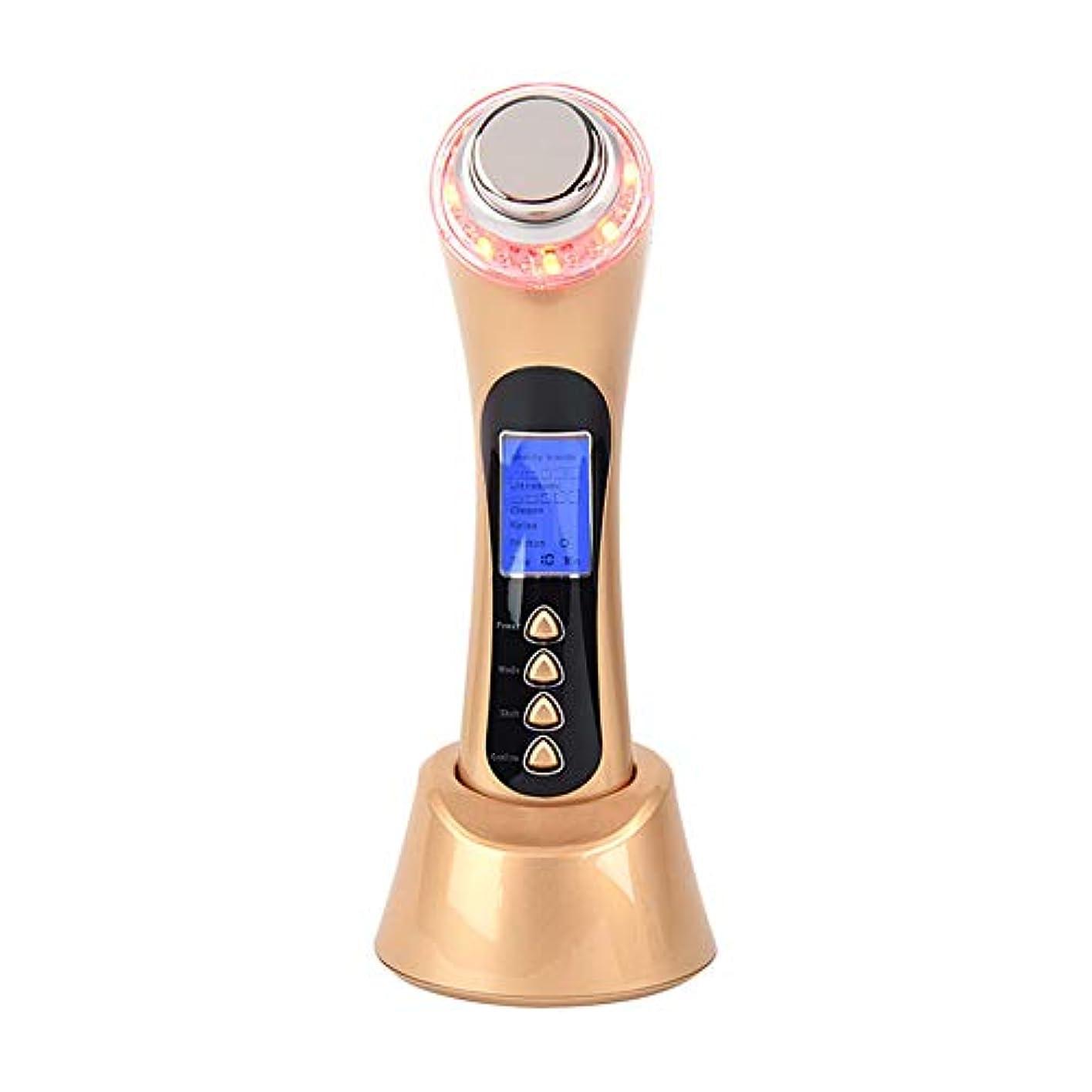 化学トレード魅力的フェイシャルマッサージャー5-in-1イオンクリーナーと赤/青/緑LED光線療法装置により、にきび/にきびのインポート栄養反しわ復活USB充電式