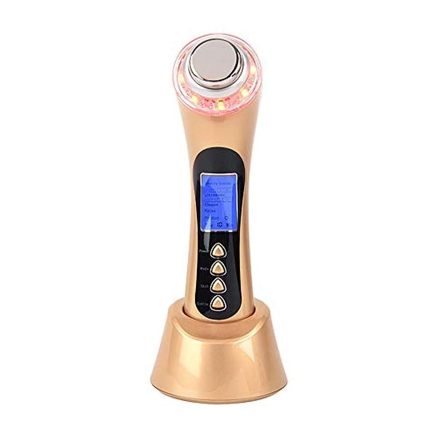 フレットヒューズ用語集フェイシャルマッサージャー5-in-1イオンクリーナーと赤/青/緑LED光線療法装置により、にきび/にきびのインポート栄養反しわ復活USB充電式