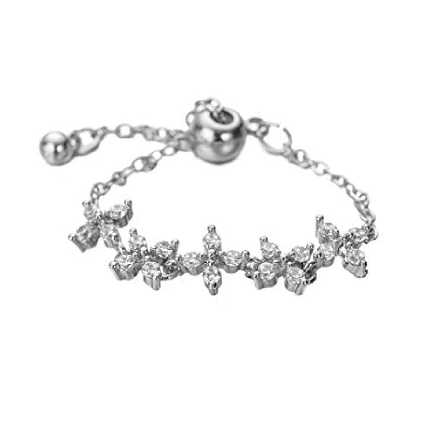 野生壮大な君主ONNFMH 指輪 リング レディース 花 チェーン フリーサイズ シルバー (シルバー)