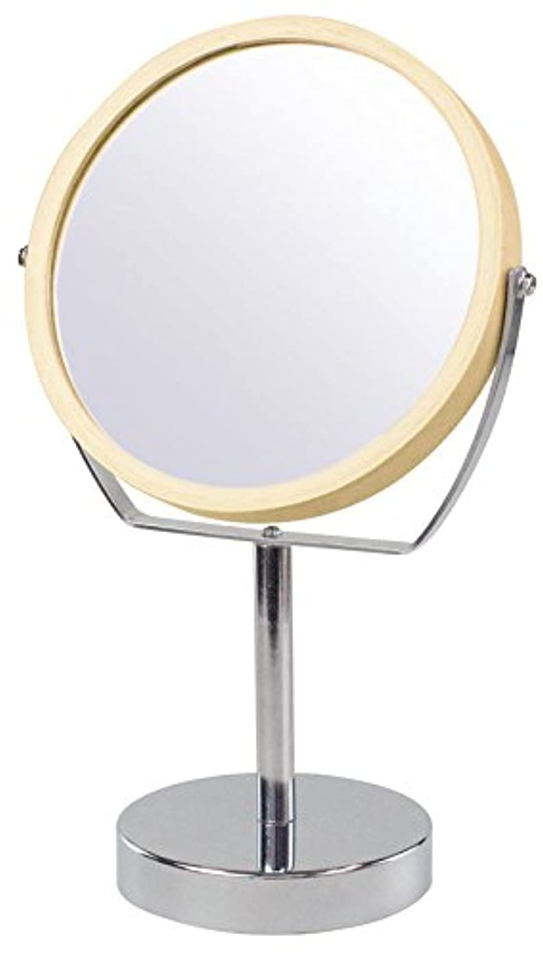 繰り返す綺麗な器官ウッドフレーム 2WAY 5倍拡大鏡付 両面 卓上ミラー (ハイスタンドタイプ) ナチュラル YWM-2