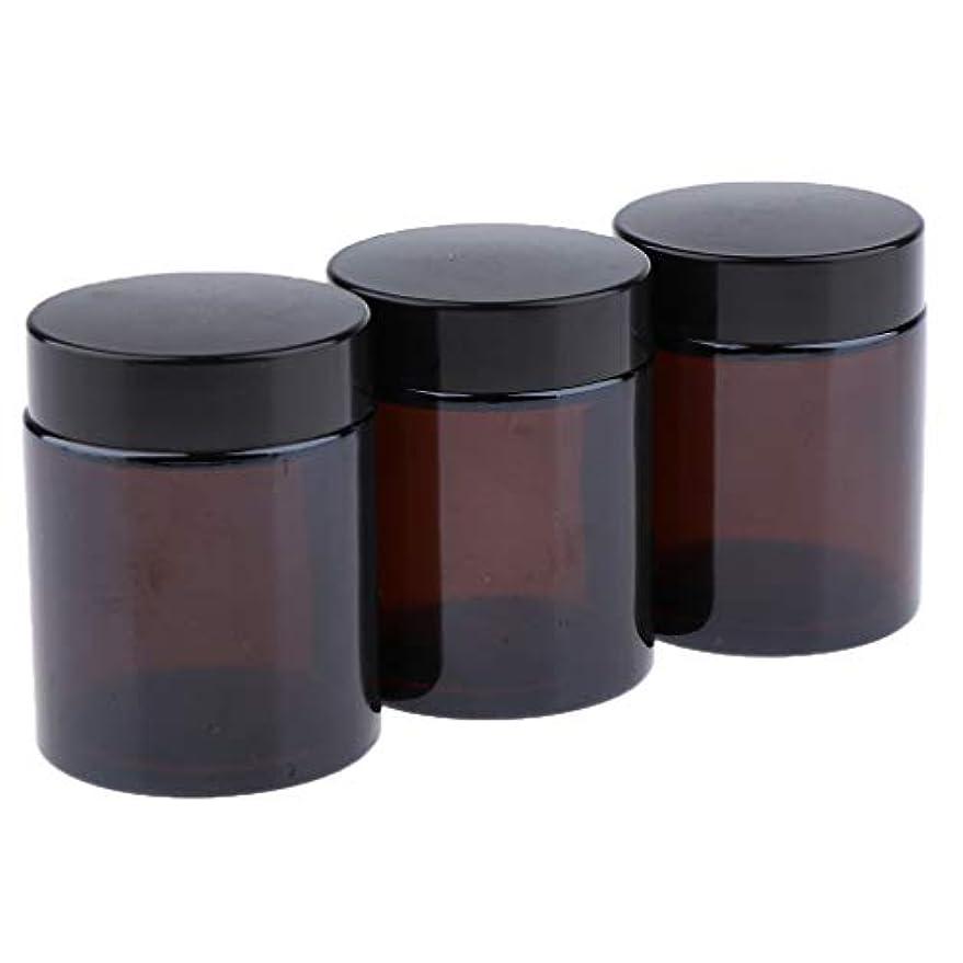 吸収死入植者Injoyo 3ピース/個ライナーとスクリューブラックキャップ付きの100Gブラウンガラス詰め替え用メイクアップジャー
