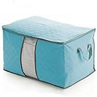 Keepjoy ストレージスタイル 羽毛布団 毛布 収納袋 衣類 整理袋 持ち手付き 活性炭 厚手 不織布製 (42*60*35CM, ブルー)