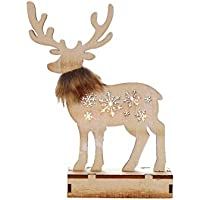 Farlong スマス 装飾 木製トナカイ装飾品 ホテル ショッピングモールの窓の装飾 照明のエルク 飾り 光る鹿