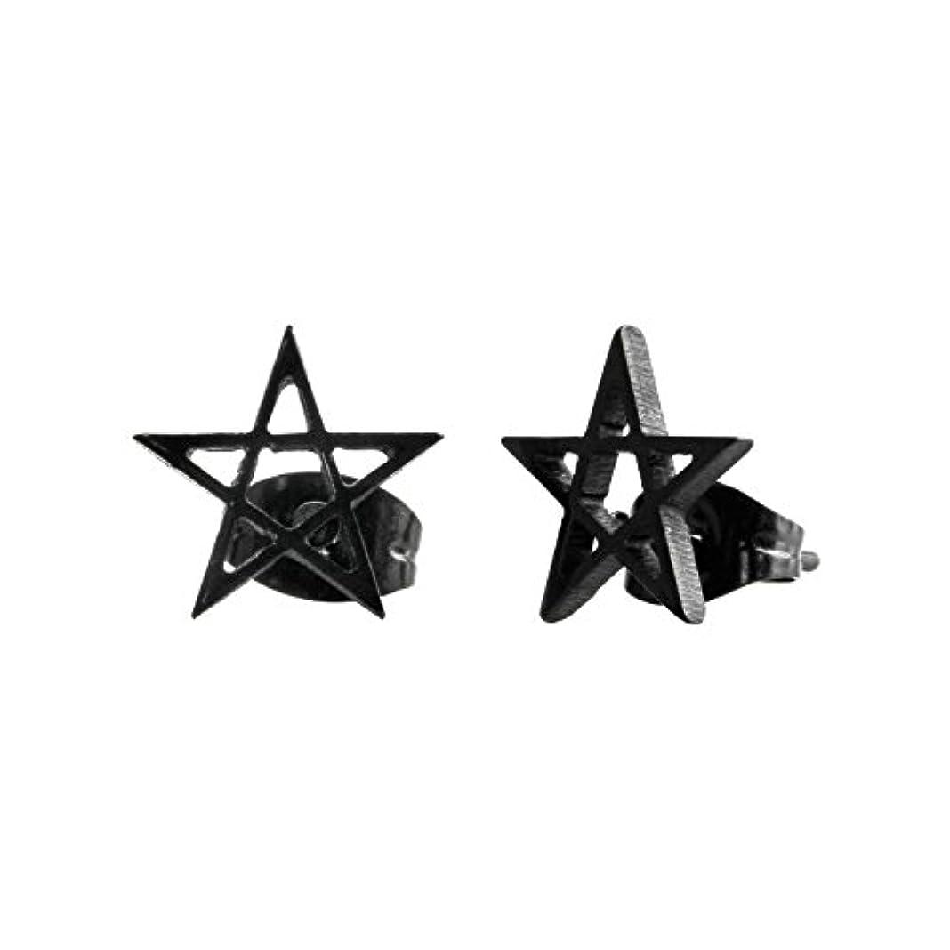 定期的にアリクラッシュUrban Male スタッドピアス 星型 ブラック ステンレススチール メンズ 10mm