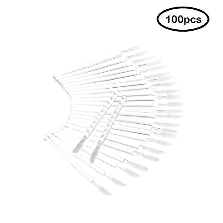 Deksias 100Pcsリップブラシ 口紅 使い捨て メイクブラシ 化粧用品 携帯用 便 利 メイクブラシ (透明)