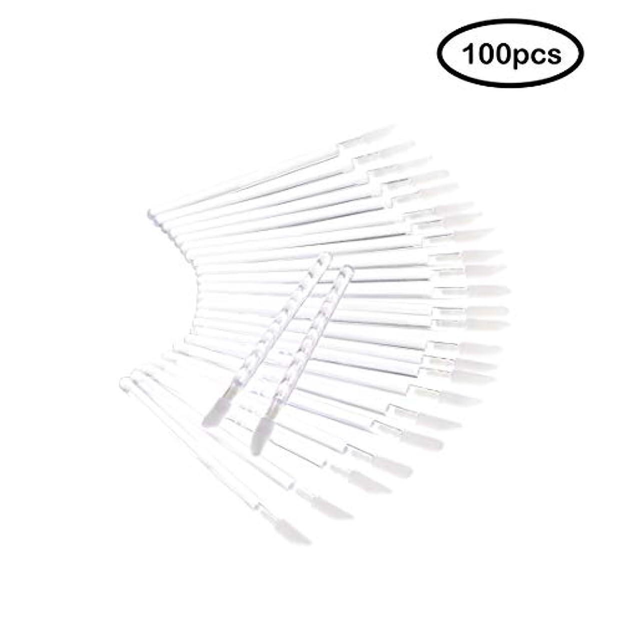 謝る組み立てる集団的Deksias 100Pcsリップブラシ 口紅 使い捨て メイクブラシ 化粧用品 携帯用 便 利 メイクブラシ (透明)