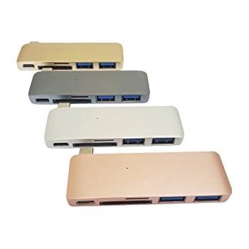 新 MacBook用 薄型 USB Type C Hub SDカードリーダー/ USB 3.0 ポート付 4色(シルバー)