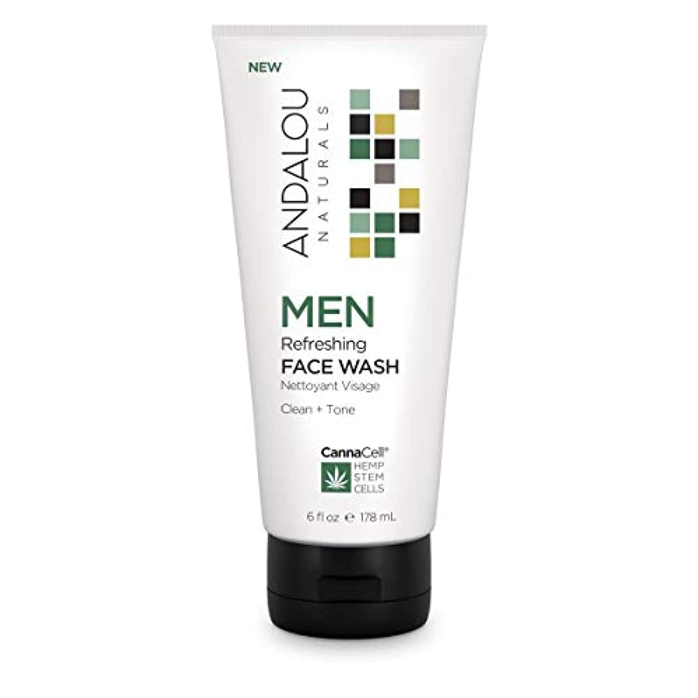 ビデオ流体無視オーガニック ボタニカル 洗顔料 洗顔フォーム ナチュラル フルーツ幹細胞 ヘンプ幹細胞 「 MEN リフレッシングフェイスウォッシュ 」 ANDALOU naturals アンダルー ナチュラルズ