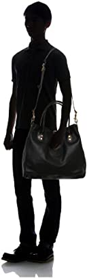 Leather Tote w/ Strap 7642: I Black