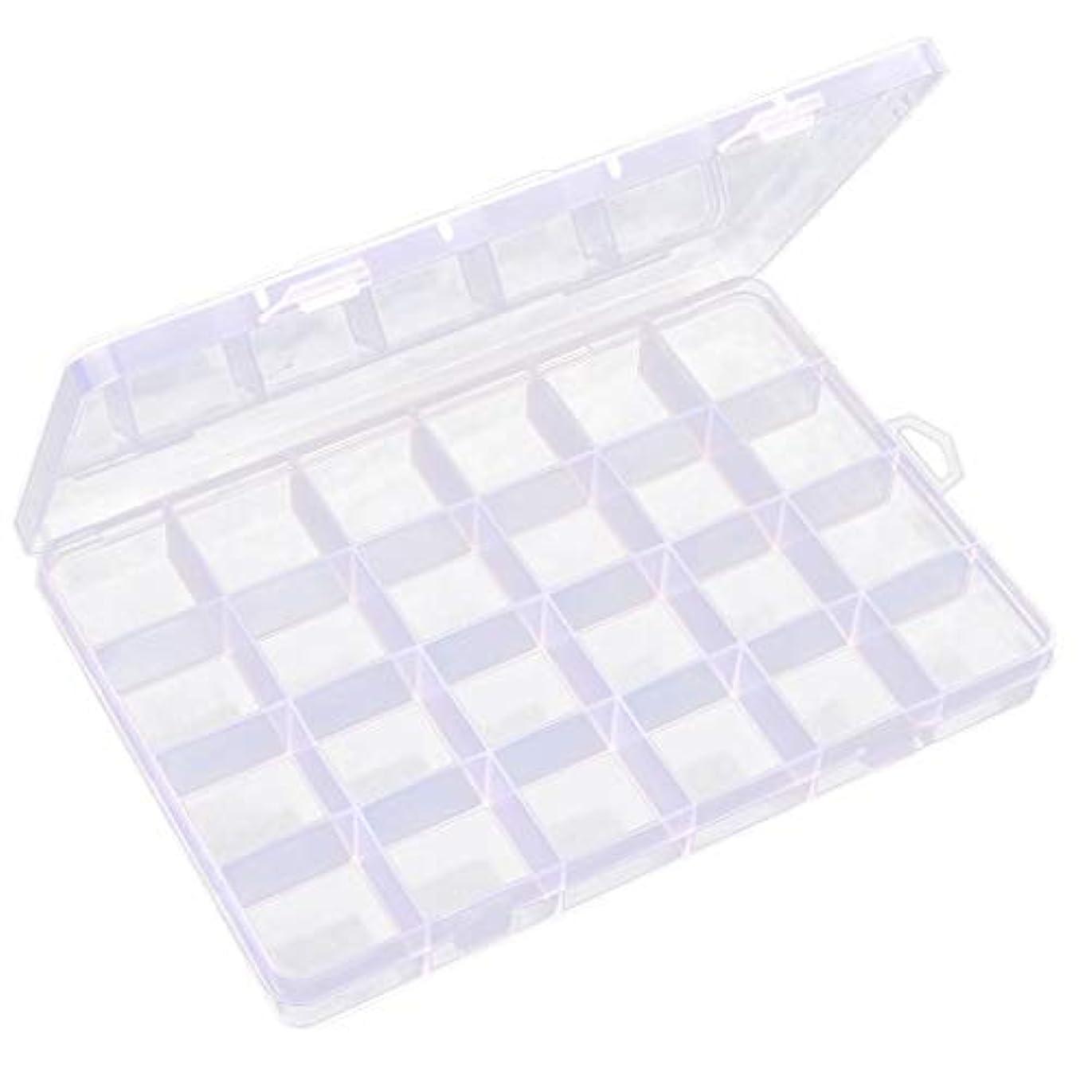 ランクコンパイル演じる透明 ジュエリーボックス ネイルアートケース ビーズ 宝石 小物入れ 収納ボックス 24区画 多機能