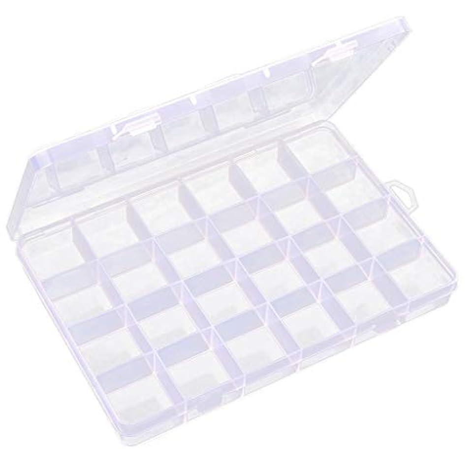 端末しかしながら均等に透明 ジュエリーボックス ネイルアートケース ビーズ 宝石 小物入れ 収納ボックス 24区画 多機能